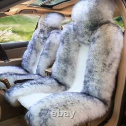 2× Single Front Seat Cover Cushion Genuine Australian Sheepskin Fur 54.3×24.8 in