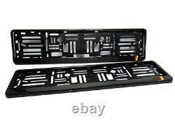 2x Real Carbon Fibre Number Plate Surround Holder Frame For Germany Audi BMW VW