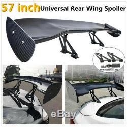 57'' Universal 3D 3DI GT Real Carbon Fiber Car Trunk Rear Racing Spoiler Wing UK