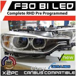 Aftermarket BMW F30 Bi Led Headlamps with D18 LED Projector angel eyes LED