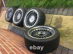 Genuine Bmw E28 24 32 Alpina Alloys 17x8j With New Tyres Caps 5x120