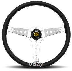 Genuine Momo Heritage California 360mm black leather steering wheel. Classic