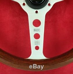 Genuine Momo Heritage Line Indy mahogany wood rim 350mm steering wheel with horn