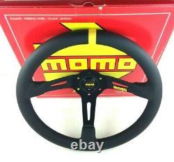 Genuine Momo Model Mod. 08 black leather 350mm steering wheel. Deep dish