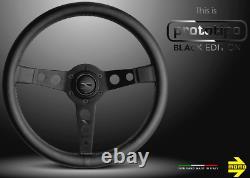 Genuine Momo Prototipo Black Edition 350mm, premium leather steering wheel. NEW