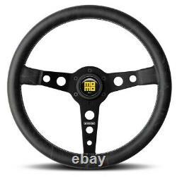 Genuine Momo Prototipo Heritage Black leather spokes steering wheel. Classic