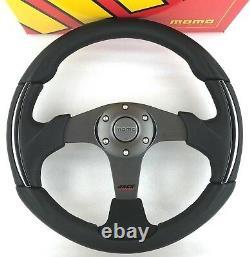 Genuine Momo Race 3000 steering wheel. Black leather, alcantara, chrome. RARE