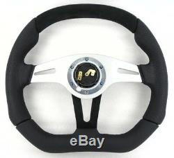 Genuine Momo Trek 350mm black leather, alcantara steering wheel and horn button