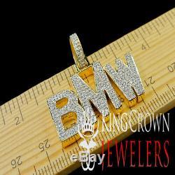 Real Genuine Diamond BMW Luxury Car Pendant 10K Yellow Gold Finish Custom Charm