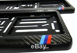 2 Véritable Numéro De Licence En Fibre De Carbone 3d Plate Surround Holder Cadre Bmw M Sport