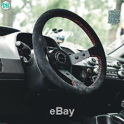 Bmw M3 E46 Volant Rouge Véritable Suede Stitch Viilante Tourismo 350mm