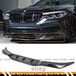 Pour 2018-2020 Bmw F90 M5 R Style Carbon Fiber Front Bumper Lip Spoiler Splitter