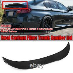 Pour Bmw Série 5 F10 M5 Psm Style Real Carbon Fiber Boot Trunk Lip Spoiler 11-17