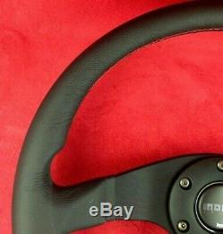 Véritable Momo Tuner Volant En Cuir Noir Rayons 350mm Avec Coutures Rouges