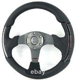 Véritable Volant Momo Race 3000. Cuir Noir, Alcantara, Chrome. Rare